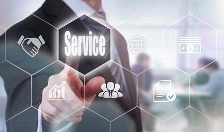 Businessman pressing an Service concept button.